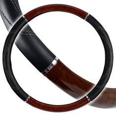 """Amazon.com: Custom & Unique {Extra Large 18"""" Inch Fit} Tight Grip """"Fitted"""" Steering Wheel Protector Cover Made of Synthetic Leather with Two Tone Wood Handle Design {Mustang Black & Brown Colored}: Automotive"""