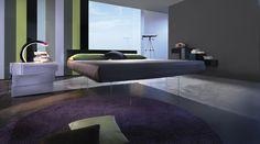 Il letto Air Lago, sospeso su lastre di cristallo, dà una sensazione di leggerezza e trasparenza. E' un letto di design perfetto per arredare la camera da letto moderna.