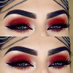Christmas MakeupMakeup Ideas LooksChristmas Day Makeup Looks to Try This Season; Christmas makeup looks; Red Eye Makeup, Makeup Eye Looks, Goth Makeup, Colorful Eye Makeup, Creative Eye Makeup, Skin Makeup, Devil Makeup, Makeup Eyebrows, Fall Makeup
