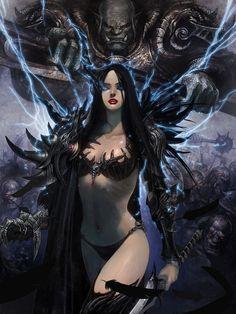 Artist: Jung Myung Lee aka rupid79 - Title: witch 2 - Card: Barbara, Undead Empress (Glamour)