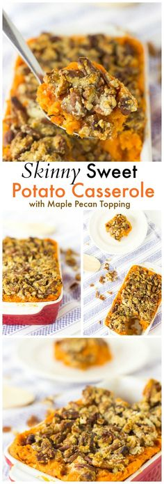 Skinny Sweet Potato Casserole with Maple Pecan Topping is a vegan, light and healthy twist to traditional sweet potato casserole! Make it just right with Earth Balance vegan butter. Healthy Thanksgiving Recipes, Vegan Thanksgiving, Fall Recipes, Healthy Recipes, Thanksgiving Table, Thanksgiving Sweet Potato Recipes, Thanksgiving Casserole, Sweet Potato Recipes Healthy, Pecan Recipes