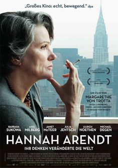 Directed by Margarethe von Trotta. With Barbara Sukowa, Axel Milberg, Janet McTeer, Julia Jentsch. A look at the life of philosopher and political theorist Hannah Arendt, who reported for The New Yorker on the war crimes trial of the Nazi Adolf Eichmann. Hannah Arendt, Julia Jentsch, Movies To Watch, Good Movies, Cinema Art, Films Étrangers, Tv Shows, Movie Posters, Posters