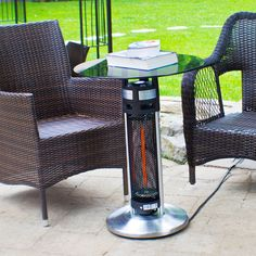 EnerG+ HEA 14756 LED Bistro Style Table With Electric Infrared Heater Tower