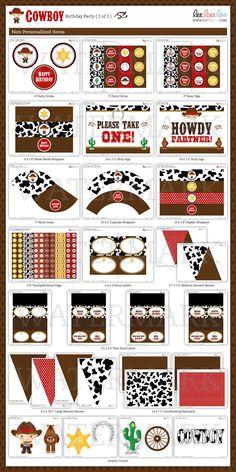 Howdy Western Cowboy Birthday Party Package by leelaaloo on Etsy, $35.00