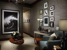 warm, cozy media room or bedroom grasscloth, grays and walnut