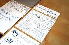 Type A Invitations - Navy and Silver Letterpress Invitations #letterpress #illustration #custom #handmade #weddinginvitation #Baltimorewedding