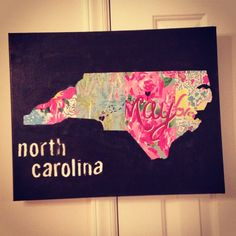 My own creation of my favorite state #northcarolina what a neat way to recycle all of my old lilly planners!!!!!