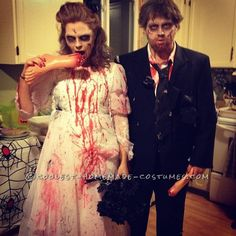 Creepy Bride and Group Zombie Couple Costume: The Newly Deads...