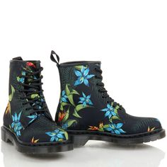 WOMENS LADIES DR MARTENS 1460 CASTEL PASCAL FLORAL TATTO IVORY ANKLE BOOTS SIZE | eBay