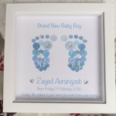 New Born Baby Boy Button Feet Picture - Personalised Footprints for a Baby Boy - Birth Gift