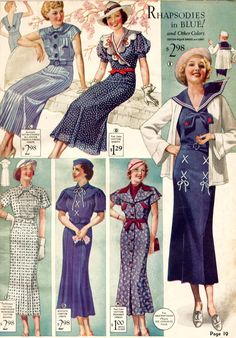 1930s catalog of dresses- Love the blues and red accents- Get inspired for Forth of July