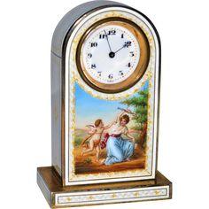 #VintageBeginsHere at www.rubylane.com @rubylanecom --Antique Austrian Gilded Silver Guilloche Enamel Miniature Clock Scene