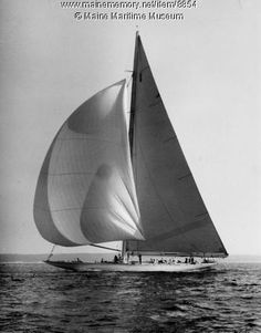 America's Cup defender 'Ranger' under sail, 1937. Purchase reproduction prints online at VintageMaineImages.com