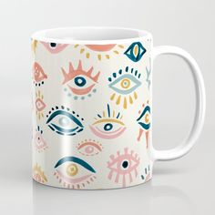 Mystic Eyes - Primary Palette Coffee Mug by Cat Coquillette - 11 oz Pottery Painting Ideas Easy, Pottery Painting Designs, Paint Designs, Mug Designs, Painted Mugs, Hand Painted, Painted Pottery, Pots D'argile, Mystic Eye