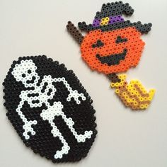 Skeleton and witch pumpkin - Halloween hama beads by pixiestick86