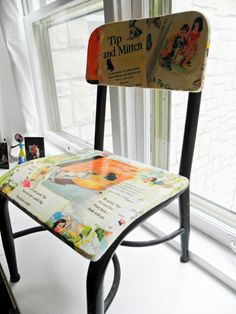 child's chair decoupaged and polyurethaned for a water resistant catch all for use in the kids' bathroom
