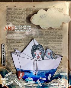 Cut Paper Illustration, Inspiration Artistique, Newspaper Art, Kawaii Doodles, Art Deco Posters, Postcard Art, Bullet Journal Art, Animal Sketches, Art Plastique