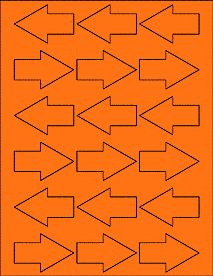 "Fluorescent Orange - Directional Arrows - Shipping Arrows - 2.3749"" x 1.5313"""