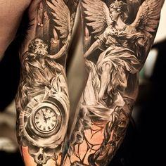 Cool Half Sleeve Tattoos, Forearm Sleeve Tattoos, Sleeve Tattoos For Women, Christian Sleeve Tattoo, Angel Sleeve Tattoo, Angels Tattoo, Cool Tattoos Pictures, Picture Tattoos, Religious Tattoo Sleeves