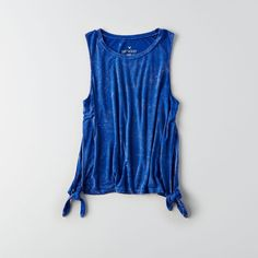 AE Soft & Sexy Side Tie Tank ($19) ❤ liked on Polyvore featuring tops, blue, banded waist tops, sexy tops, sexy tanks, blue tank top and crew neck tops