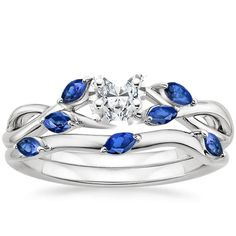18K White Gold Willow Bridal Set With Sapphire Accents | Brilliant Earth
