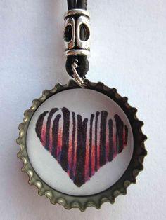 Bottle Cap Necklace Heart Barcode $15