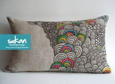 Sukan / Original Pen Hand Drawing Pillow Cover  14x14 by sukanart,