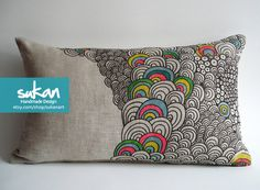 Sukan / Original Pen Hand Drawing Pillow Cover  14x14 by sukanart,