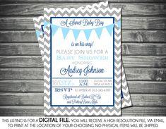Boys Baby Shower Invitation - Chevron, Banner, Blue, Gray, Navy Blue, Printable, Digital on Etsy, $13.00