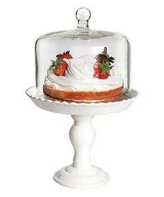 This elegant cake pedestal is the perfect way to present the last course in style. The protective dome ensures no one sneaks a taste of frosting before it's time for dessert.