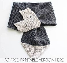 Fox Scarf Knitting Pattern- women & child sizes - Gina Michele