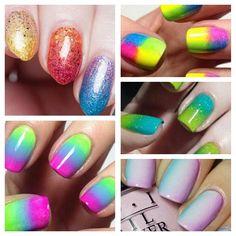 Diseños de uñas con esponja impregnada, diseño de uñas con esponja colores.   #diseñodeuñas #decoratednails #uñasdeboda