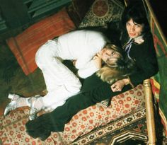 Anita Pallenberg and Mick Jagger on the set of Performance. Photo by Cecil Beaton