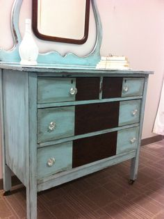 Two Tone Teal Dresser $545 - Crystal Lake http://furnishly.com/two-tone-teal-treasure.html