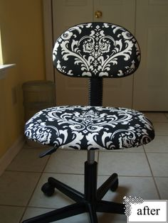 Thinking of re-doing our old office chair. I really like this look.