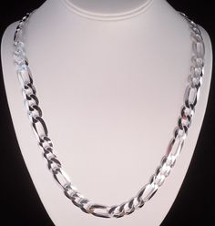 "ITALY 925 STERLING SILVER DIAMOND CUT FIGARO LINK CHAIN NECKLACE 24"" REAL SILVER #AuthenticItalianTopQualityCraftsmanship #Chain"