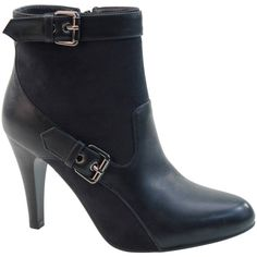 Bolaro Black Buckle-Wrap Bootie ($36) ❤ liked on Polyvore featuring shoes, boots, ankle booties, ankle boots, black high heel ankle booties, black buckle boots, black boots and high heel booties