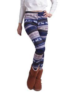HDE Women Winter Knit Leggings Fleece Line Nordic Design Thermal Insulated Pants at Amazon Women's Clothing store: Leggings Pants