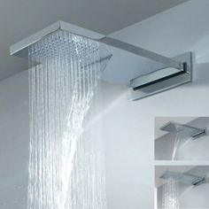 Add luxury and style to your bathroom with this graceful waterfall rain shower head.