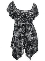 Stylish Plus Size Printed Cut Out Asymmetric Top For Women (BLACK,2XL)   Sammydress.com Mobile
