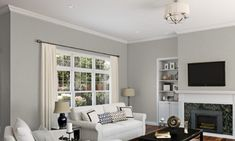 Why Sherwin Williams Repose Gray is so versatile and works in almost every room! Learn about Repose Gray undertones, accent paints and contrasting colors. Blue Gray Paint Colors, Greige Paint Colors, Bedroom Paint Colors, Paint Colors For Living Room, Living Room Grey, Neutral Paint, Living Rooms, Paint Colours, Grey Paint