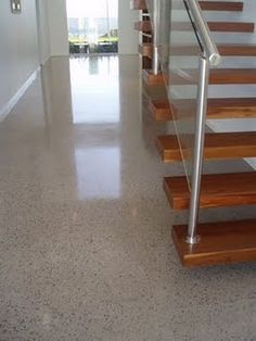 the speckles are nice in the polished concrete flooring - Boden Polished Concrete Flooring, Terrazzo Flooring, Basement Flooring, Basement Remodeling, Kitchen Flooring, Concrete Finishes, Concrete Kitchen Floor, Hut House, Stained Concrete