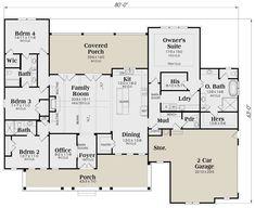 Best House Plans, House Floor Plans, Floor Plan Drawing, Jack And Jill Bathroom, Modern Farmhouse Plans, Farmhouse Decor, Tub Shower Combo, Ranch Style Homes, Build Your Dream Home