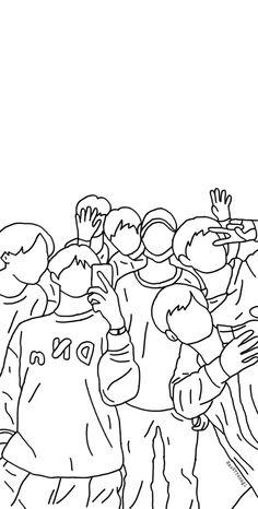 Outline Art, Outline Drawings, Kpop Drawings, Art Drawings Sketches, Bts Aesthetic Wallpaper For Phone, Bts Wallpaper Lyrics, Bts Beautiful, Bts Chibi, Bts Lockscreen