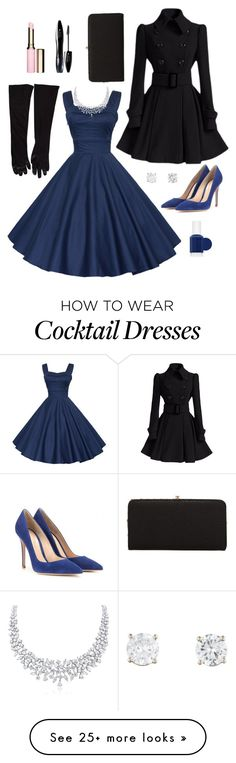 """""""50s - blue glamour"""" by for4everkate on Polyvore featuring moda, Gianvito Rossi, Urban Expressions, Essie, Clarins i Lancôme"""