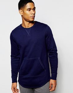 Image 1 of ASOS Loungewear Sweatshirt In Blue With Curved Hem