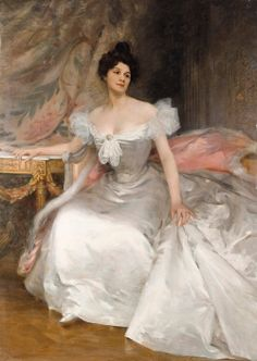 Portrait of a Young Woman in a White Dress - Etienne Albert Joannon-Navier 1896