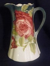 K Luneville roses pottery faience  pitcher/tankard