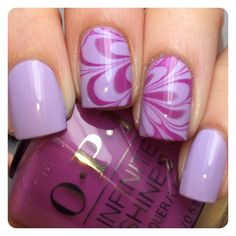 Watermarble using OPI Infinite Shine In Pursuit of Purple and OPI Infinite Shine Grapely Admired.   I received the OPI products as part of #PreenMeVIP program.
