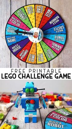 Encourage creative building with this Free Printable LEGO Challenge Game with LEGO spinner instructions! Encourage creative building with this Free Printable LEGO Challenge Game with LEGO spinner instructions! Lego Spinner, Diy Spinner Wheel, Games For Kids, Activities For Kids, Lego For Kids, Summer Holiday Activities, School Age Activities, Children Games, Birthday Activities